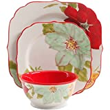 The Pioneer Woman 12-Piece Ceramic Dinnerware Set, Poinsettia, Dishwasher/Microwave Safe (Multi-Color) For Sale