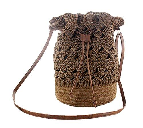 tracolla donna borsa da Borsa Marrone per fiori estiva Gancio a vacanza con e a Scuro cordino AXn8TSwq