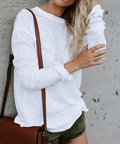 et Shirt Automne Tops Long Printemps Chandail Unie Mode T Casual Shirts Jumpers Hauts Tee Legendaryman Couleur Femmes Blanc Sweat Blouse Tunique Manches Chemisiers Longues 5qw1aEEp