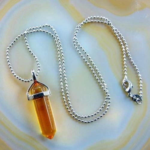 Natural Gemstone Hexagonal Point Reiki Chakra Pendant+18K Silver Necklace (Citrine)