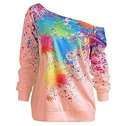 Blouses For Womens Foruu Clover Ladies Sales 2019 Under 10 Best Gift For Girlfriend Fashion Skew Neck Long Sleeve Paint Splatter Print Sweatshirt Top