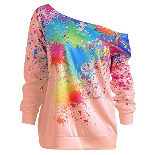 (TIFENNY Fashion Loose Pullover for Women Skew Neck Long Sleeve Paint Splatter Print Fashion Sweatshirt Top Blouse Pink )