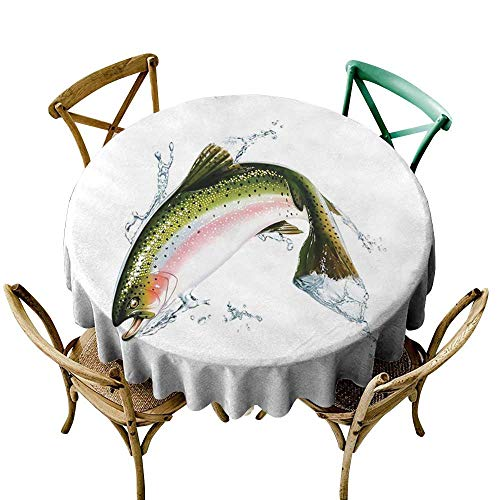 cobeDecor Fish Elegance Engineered Tablecloth Salmon Jumping Out of Water Making Splashes Cartoon Design Photorealistic Airbrush D36 Multicolor