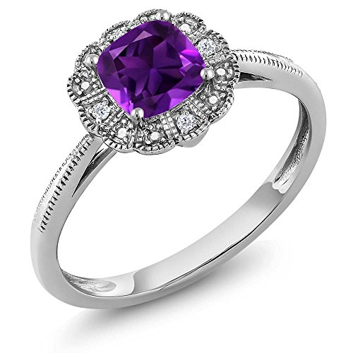 18K White Gold Cushion Amethyst and Diamond Women's Ring (0.54 cttw, Available size 5, 6, 7, 8, 9) - Accent Cs 5 Piece