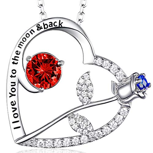 July Birthstone LC Red Ruby Necklace Birthday I love you to The Moon and Back Love Heart Rose Pendant Anniversary Birthday Gift for Women Sterling Silver -