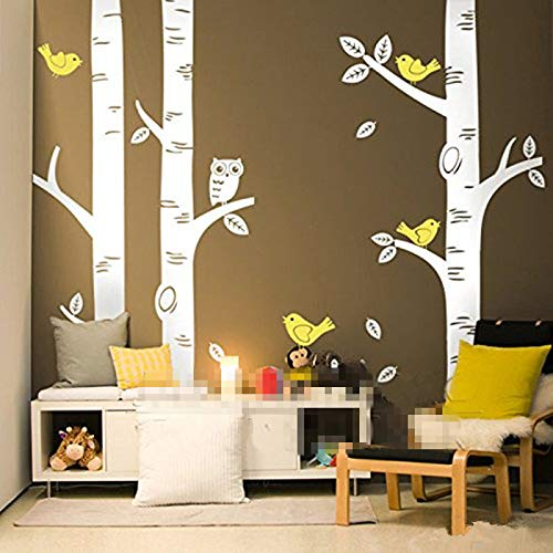 250250CM Cute Owl Birds Large Birch Tree Wall Stickers for Kids Room Wallpaper Mural Baby Nursery Wall Decals Tattoo Forest Home Background Decoration D639 (250cm Tall) (Tattoo Wall Paper)
