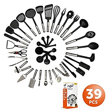Mr. & Mrs. Kitchen Cooking Utensils Set - 39 Piece Premium Tool and Gadget Set Stainless Steel And Nylon – Turners, Tongs, Spatulas, Pizza Cutter, Whisk, Bottle Opener, Grater, Peeler, Can Opener