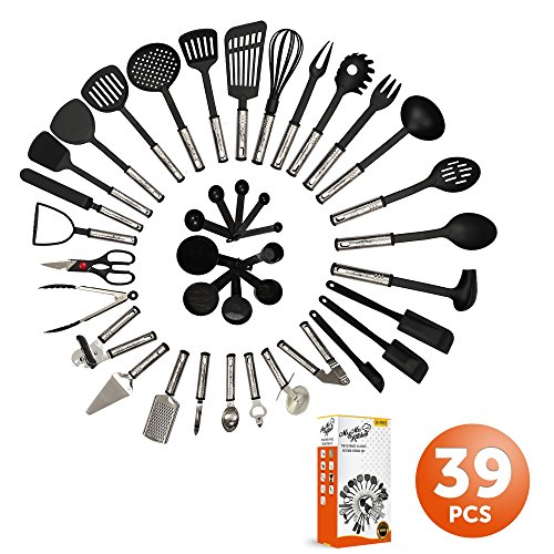 Mr. & Mrs. Kitchen Cooking Utensils Set - 39 Piece Premium Tool and Gadget Set Stainless Steel And Nylon - Turners, Tongs, Spatulas, Pizza Cutter, Whisk, Bottle Opener, Grater, Peeler, Can Opener (Food Network Kitchen Gadgets compare prices)