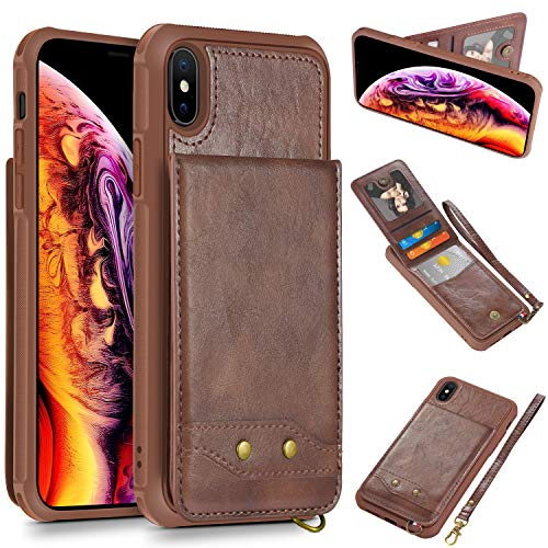 HianDier Case for iPhone Xs MAX Credit Card Holder Case Wallet Kickstand Wrist Strap Lightweight Protection Magnetic Flip Cover ID Pocket Slot PU Leather Compatible with iPhone Xs MAX 6.5 Inch, Coffee