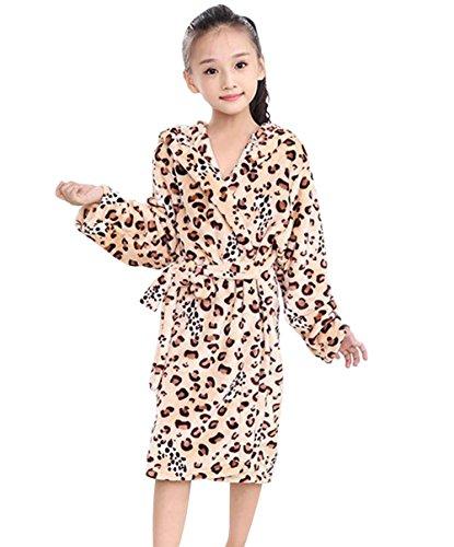 Tortor 1Bacha Kid Girls Boys Animal Print Hooded Plush Long Sleeve Bathrobe Robe Yellow 5-6