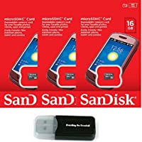 SanDisk 16GB (3 Pack) MicroSD HC Memory Card SDSDQAB-016G (Retail Packaging) LOT OF 3 with Everything But Stromboli Memory Card Reader