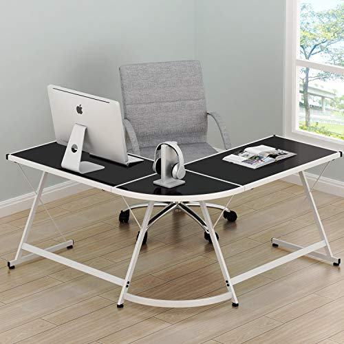 SHW Vista Corner L Desk - White with Black Glass