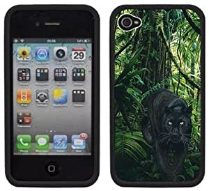 Black Panther Jungle Handmade iPhone 4 4S Black Hard Plastic Case by Maris's Diary