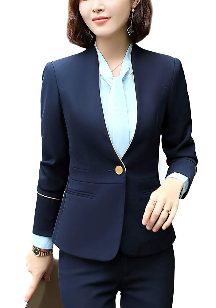 bluee LISUEYNE Women's Two Pieces Work Office Blazer Jacket Lady Suit Slim Blazer Coat