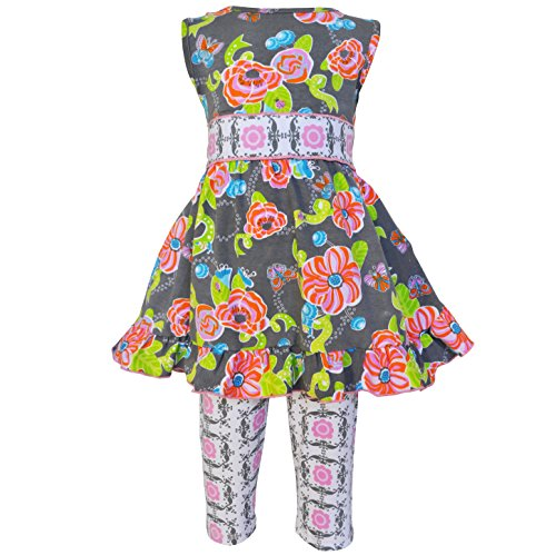 Outfit Set Capri Ladybug (AnnLoren Baby Girls sz 12/18 mo Floral Butterfly Ladybugs Dress and Capri Outfit)