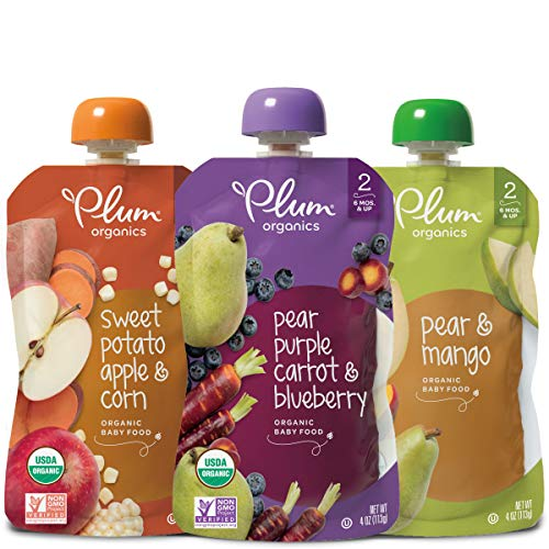 - Plum Organics Stage 2, Organic Baby Food, Fruit and Veggie Variety Pack, 4 ounce pouches (Pack of 18) (Packaging May Vary)