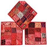 Designer Throw Pillow Sham Vintage Patchwork Red Cushion Covers Set Of 3 16 x 16