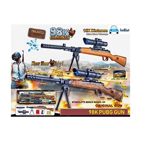 Zenith Toys 98K Bolt Action Rifle, PUBG Theme Gun Toys Set with 15X Telescope and Tripod | Target Shooting Gun, Role Play Game for Kids/Boys/Children