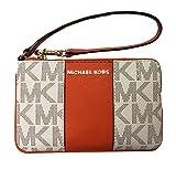 Michael Kors Center Stripe Jst Medium Top Zip Wristlet Vanilla/Tangerine