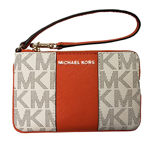 Michael Kors Center Stripe Jst Medium Top Zip Wristlet Vanilla/Tangerine by Michael Kors