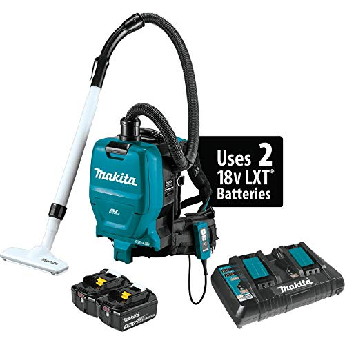 Makita XCV05PT 18V X2 LXT Lithium-Ion (36V) Brushless Cordless 1/2 Gallon HEPA Filter Backpack Dry Dust Extractor/Vacuum Kit (5.0Ah) (C2401 Hoover)