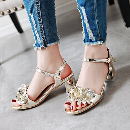 Mee Shoes Women's Chic Mid Heel Ankle Strap Faux Pearl Buckle Sandals Gold xNOaw