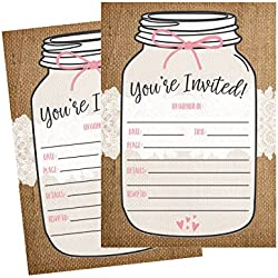 50 Fill In Invitations, Burlap and Lace, Kraft Wedding Invitations, Bridal Shower Invites, Rehearsal Dinner, Dinner Invite, Baby Shower Invites, Bachelorette Party Invitation, Engagement, Graduation