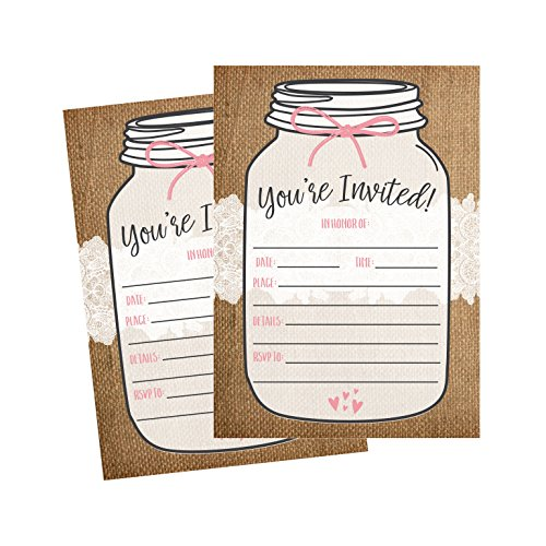 (50 Fill In Invitations, Burlap and Lace, Kraft Wedding Invitations, Bridal Shower Invites, Rehearsal Dinner, Dinner Invite, Baby Shower Invites, Bachelorette Party Invitation, Engagement, Graduation)