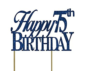 All About Details Blue Happy 75th Birthday Cake Topper By