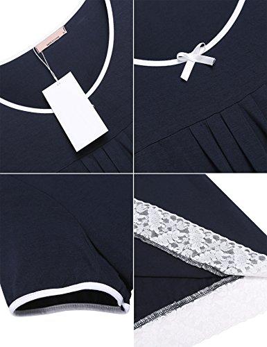corte da Blu Navy Maniche notte Camicia Unibelle Donna vIqTxAqw