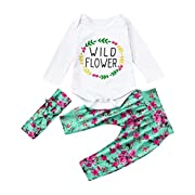 SALE ! Teresamoon Fashion Clothes Set , Baby Girl Boy Letter Print Tops Pants Outfits (6-9 Months, White)