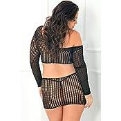 75303fdcee Amazon.com  Rene Rofe Crochet Net Bodystocking Black Queen O S XL ...