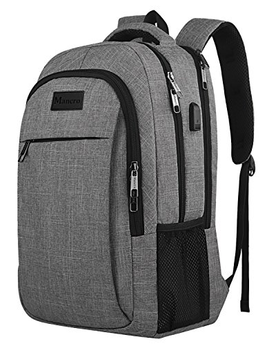 (Travel Laptop Backpack, College School Computer Bag for Women Men, Mancro Durable Slim Laptops Backpack w/USB charging Port, Water Resistant Anti Theft BookBag Fits 15.6 Inch Laptop/Notebook - Grey)