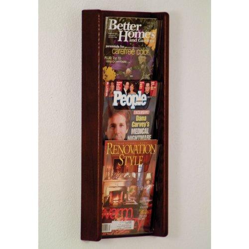 DMD Literature Display, 3 Pocket, Solid Oak and Acrylic Wall Mount Rack, Mahogany Wood Finish