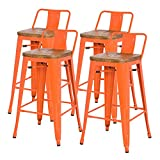 Cheap New Pacific Direct Metropolis Metal Low Back Bar Stool 30″ Wood Seat,Indoor/Outdoor Ready,Orange,Set of 4