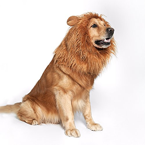 JUBOZAMO 1 Dog Lion Mane - Realistic & Funny Lion Mane for Dogs - Complementary Lion Mane for Dog Costumes - Lion Wig for Medium to Large Sized Dogs Lion Mane Wig for Dogs (Brown)