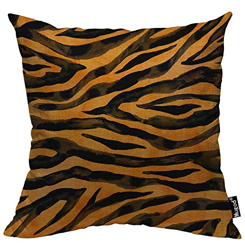 (Mugod Animal Fur Skin Throw Pillow Cover Tiger Black Yellow Orange Brown Stripe Wildlife Decorative Pillow Cases Square Cotton Linen Cushion Cover for Home Bed Sofa Couch 18x18 Inch)