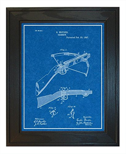"""Crossbow Patent Art Blueprint Print with a Border in a Solid Pine Wood Frame (18"""" x 24"""") M12757"""