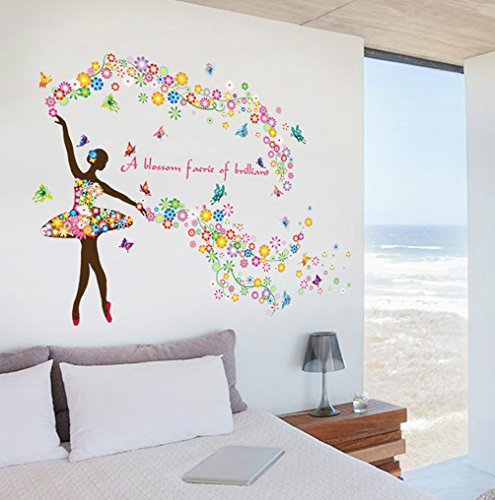 BIBITIME Dance Ballet Girl Multicolored Flower Butterfly Wall Decal Sayings A blossom faerie of brilliant Quotes Sticker for Music Classroom Girl Bedroom Kids Room - Blossom Ballet