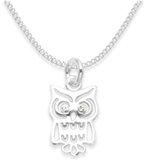 Perfect Jewelry Gift Sterling Silver /& CZ Brilliant Embers Owl Necklace