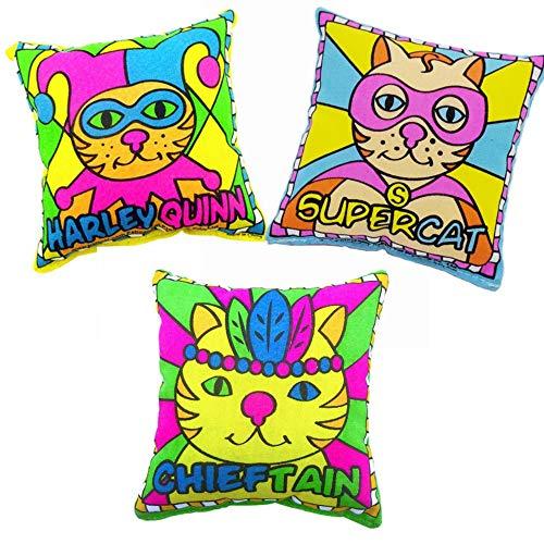 THE MIMI'S 100% Catnip Filled Cat Toys Cartoon Square Pillow Kitten Cat Bite Toy Pet -3 Packs