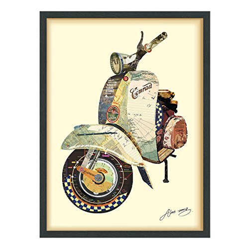 Empire Art Direct Scooter Dimensional Collage Handmade by Alex Zeng Framed Graphic Motorcycle Wall Art, 25