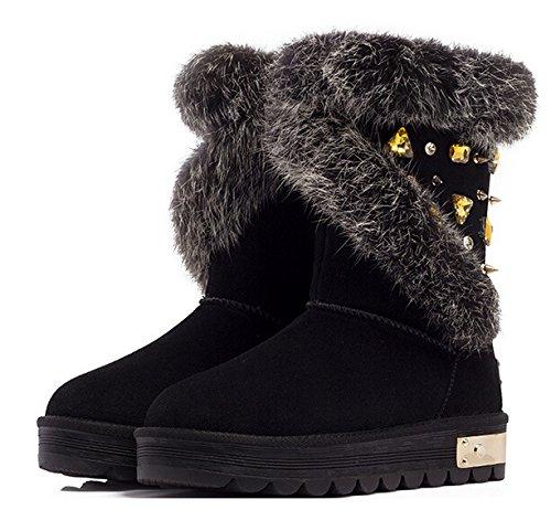 Skid Women Rhinestone crust Black rabbit Thick boots hair Warm leather snow r5XqSr