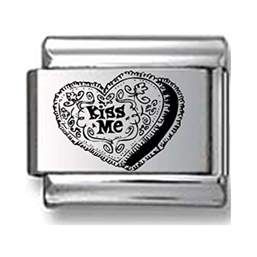 Kiss Me Heart Shaped Box Laser Italian Charm - Heart Kiss Italian Charm