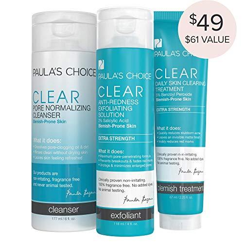 Paulas Choice-CLEAR Extra Strength Acne Kit-2% Salicylic Acid & 5% Benzoyl Peroxide Acne Treatment Skincare Kit with Face Wash, Blemish Treatment, and Exfoliator