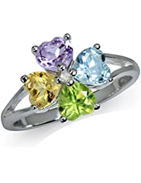 Natural Amethyst, Peridot, Citrine & Blue Topaz 925 Sterling Silver Clover Ring