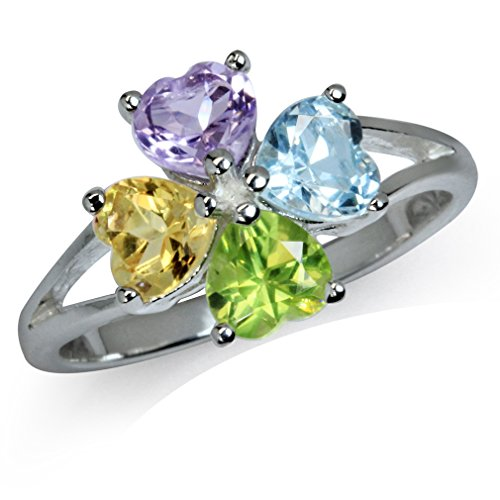 - Natural Amethyst, Peridot, Citrine & Blue Topaz 925 Sterling Silver Clover Ring Size 9