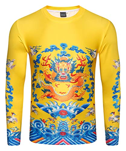 - PIZOFF Unisex Design Print Chinese Dragon Pattern Casual Long Sleeve Yellow T-Shirt Pullover Breathable