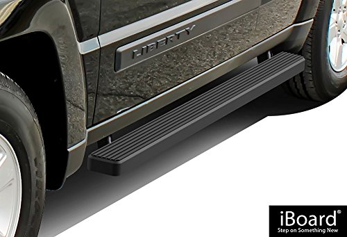 APS iBoard Running Boards (Nerf Bars | Side Steps | Step Bars) for 2008-2013 Jeep Liberty Sport Utility 4-Door | (Black Powder Coated 4 ()