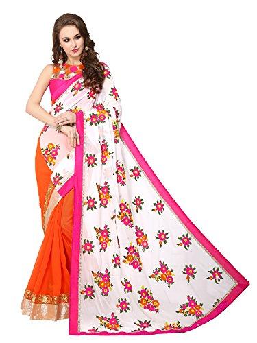 Panchratna Women's peach and white georgette net Hevy Designer saree…